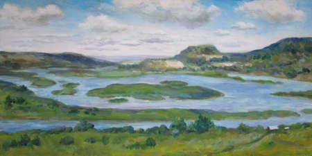 Volga view in Samara, summer, oil painting 版權商用圖片