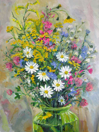 Bouquet of the end of summer, oil painting