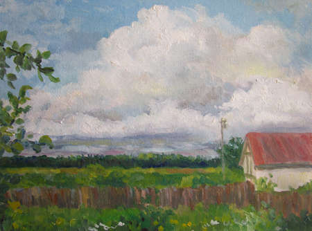 Big cloud in the russian country, oil painting