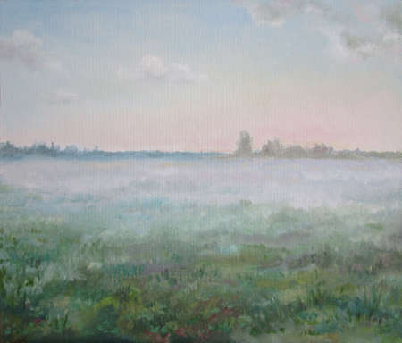 Morning fog in the russian country, oil painting