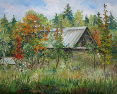 Autumn in the country, sunny day, oil painting 版權商用圖片