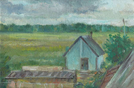 Little blue house in the russian country, oil painting