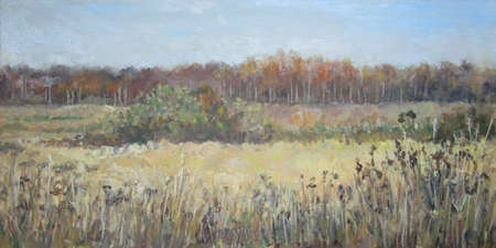 October in the russian country field. Oil painting.