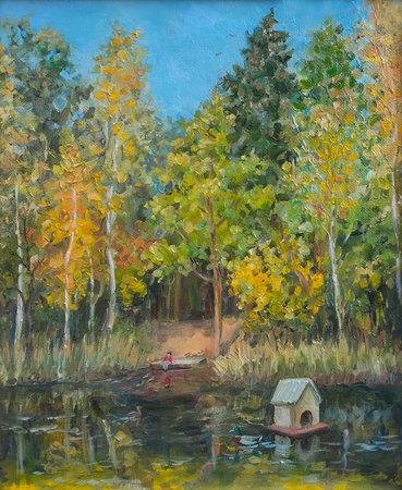 September pond, oil painting landscape