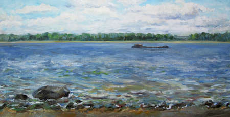 A barge on the Volga river, oil painting