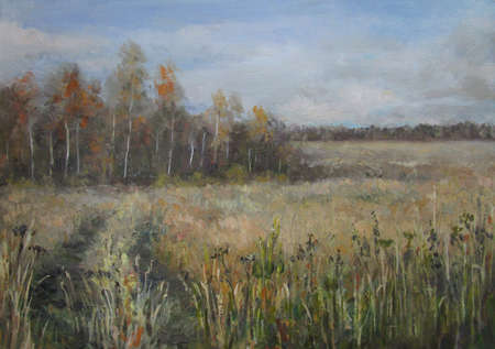 Country field in october, oil painting, Russia