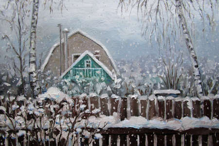 Winter snowy day in the russian country, oil painting