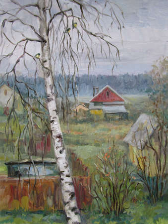 Grey day in the russian country, november, oil painting