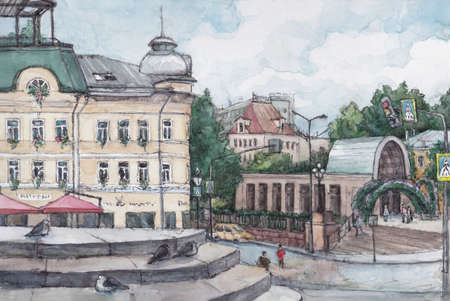 Old Moscow central street, summer day, watercolor