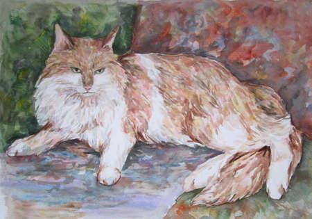 Beautiful beuge cat lying on a sofa, watercolor art
