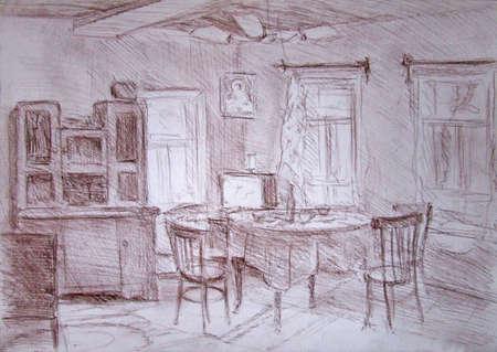 Old house interior, dining room, pastel sketch 版權商用圖片