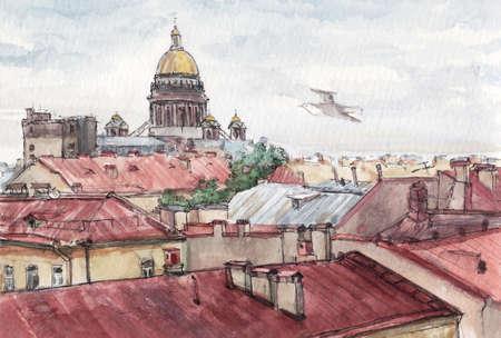 Saint-Petersburg roofs view in summer, watercolor sketch
