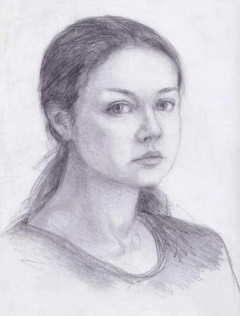 Self-portrait drawn by me in pencil. Watercolor woman portrait. 版權商用圖片