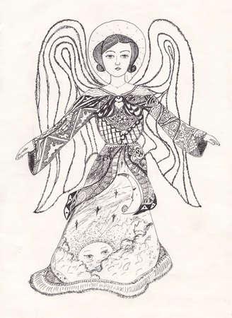 Graphic decorative angel, kindness and beauty - tattoo idea