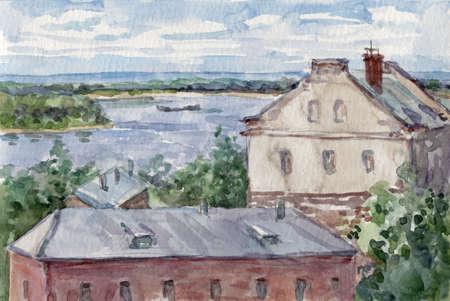 Samara view with Volga in summer, watercolor