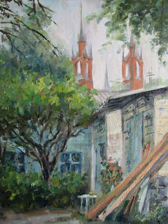 Gothic cathidral in Samara. View from the old yard. Oil painting