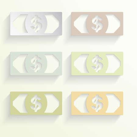 dolar: signos de colores, monedas de dinero Dolar Foto de archivo