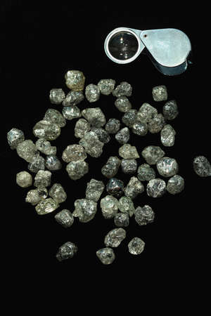 Natural Rough diamonds on black background sorted by size and shapes . High quality photoNatural