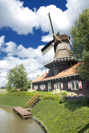 watermanagement: Dutch mill Stock Photo