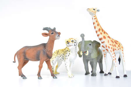 plastic various animals on a white background Stock Photo - 18280722