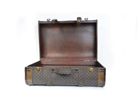 vintage old open suitcase ready to pack on a white background photo