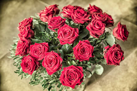 bouquet of red roses background Stock Photo