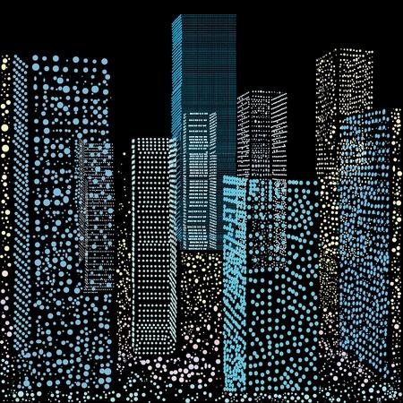 materiali edili: Nel disegno di grattacieli si trovano, eseguiti in forma di ellissi di diverse dimensioni su sfondo nero.