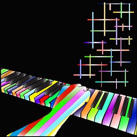 Piano illustratie op een zwarte achtergrond Stock Illustratie