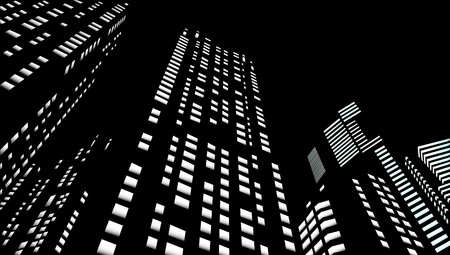 city lights: Skyscrapers in a night city Illustration