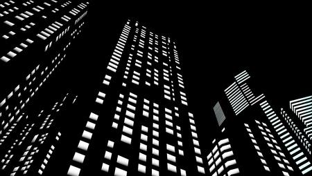 Wolkenkrabbers in een nacht stad Stock Illustratie