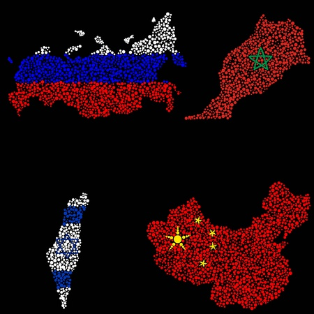 The image of four countries in the form of ellipses. Vector
