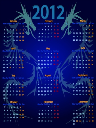 Calendar 2012 with a blue water dragon symbol. Stock Vector - 11353111