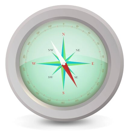 image of the metal compass on a light background