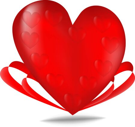 Red valentines background with hearts and red ribbons