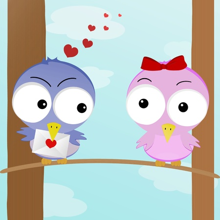 dating and romance: La figura mostra due uccelli in amore con l'altro Vettoriali