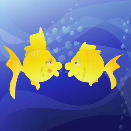 The figure shows the two lovers of fish Vector