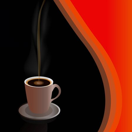 The figure shows a mug of coffee on a black background