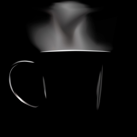 black coffee mug: Figure silhouette circles on a black background