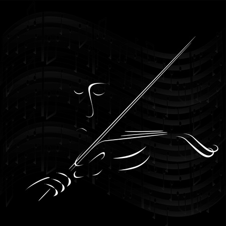 night dress: Sad music fiddler on a black background Illustration