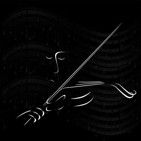 Sad muziek violist op een zwarte achtergrond Stock Illustratie