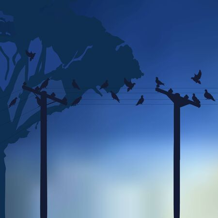 The figure shows the doves on a blue background Vector