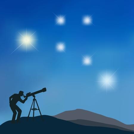 La figura muestra la silueta de un hombre mirando a las estrellas con un telescopio Ilustración de vector