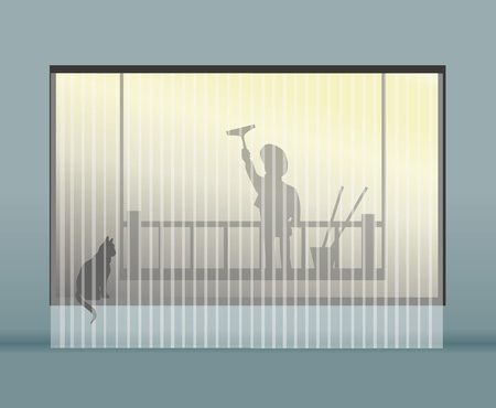 Illustration of a window washer worker