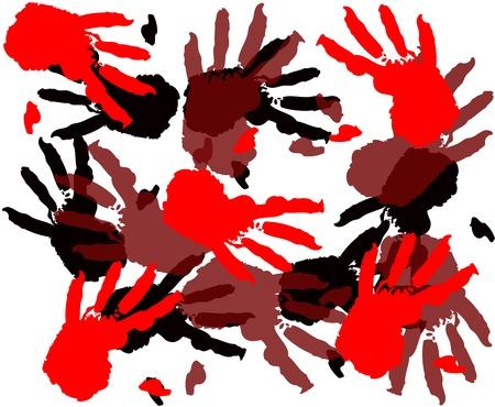 gore:  Bloody handprints Illustration