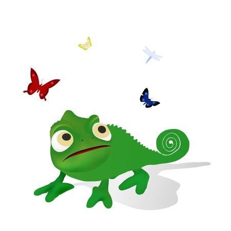 chameleon lizard: camaleonte verde