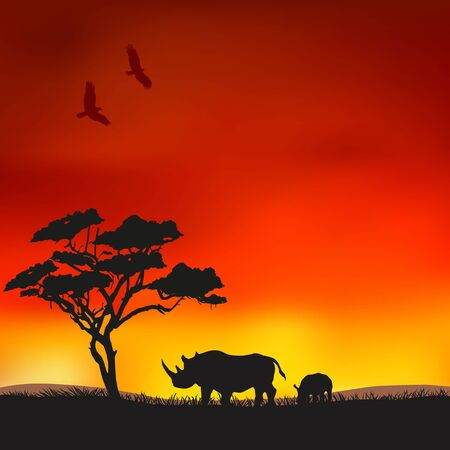Rhinos in the savannah Vector