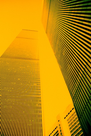 Skyscrapers on a background of yellow color