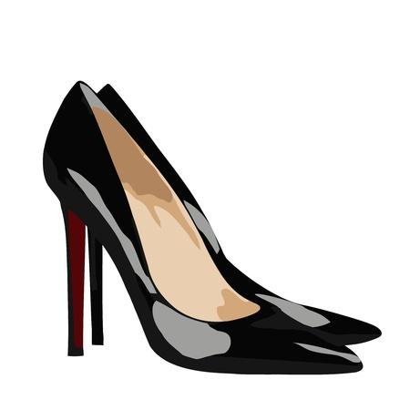 lady s: Imagen de la mujer s zapatos de tac�n alto - negro y rojo