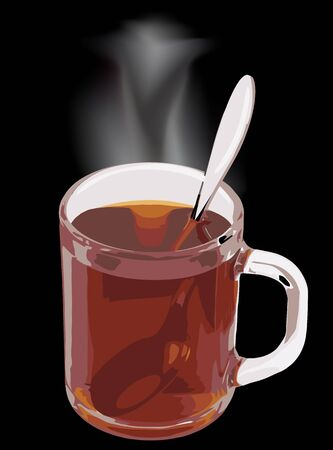Cup of tea with a spoon on black background