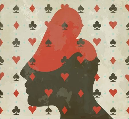 queen of clubs: Vintage playing card Illustration